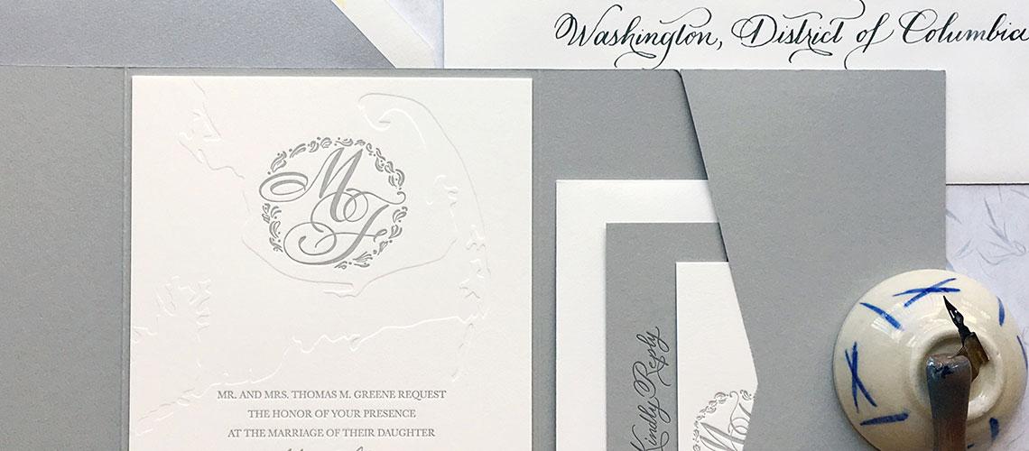 Image of letterpressed wedding invitation