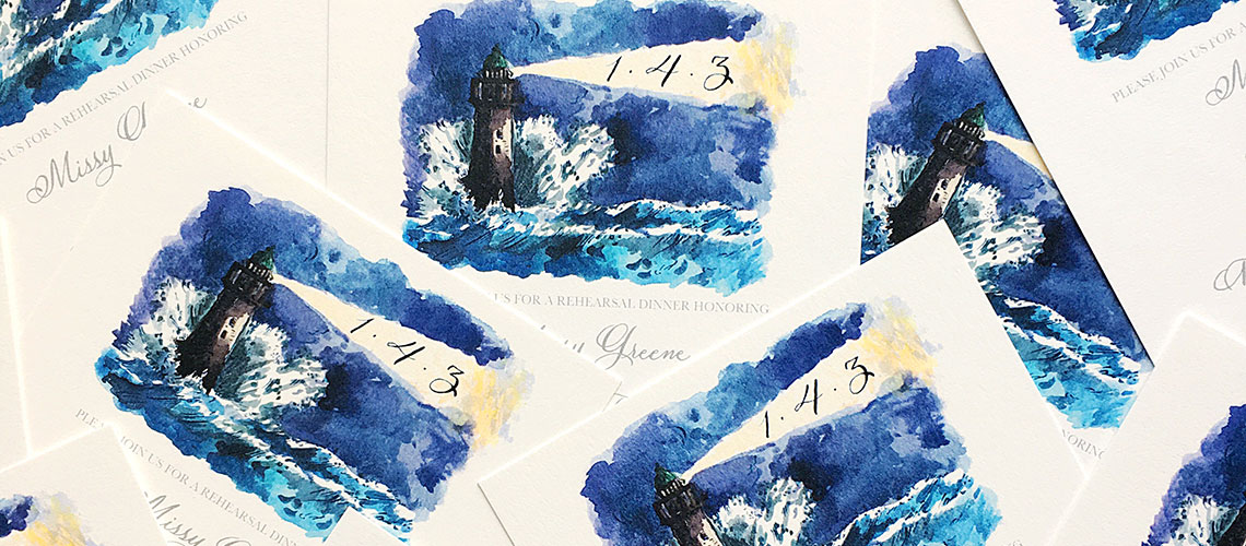 Image of watercolor rehearsal invitations