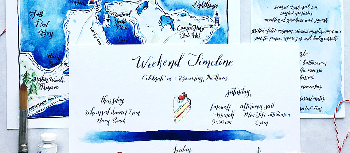 Image of watercolor wedding timeline